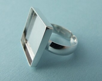 Adjustable Sterling Silver Bezel-style Ring Blank -.925 premium jewelry finding - Square Bezel Ring Base
