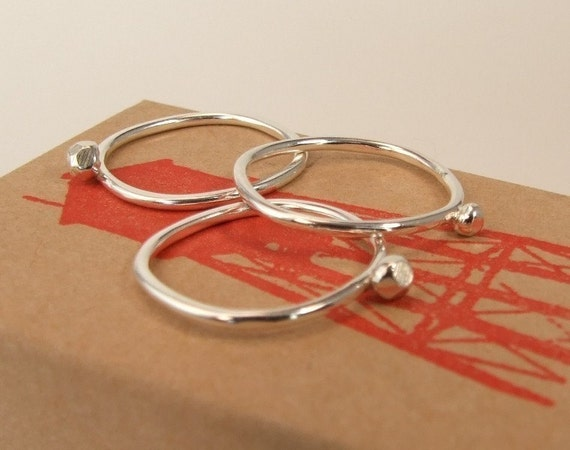 Rox Ring Trio-Set of 3 Sterling Silver Rings