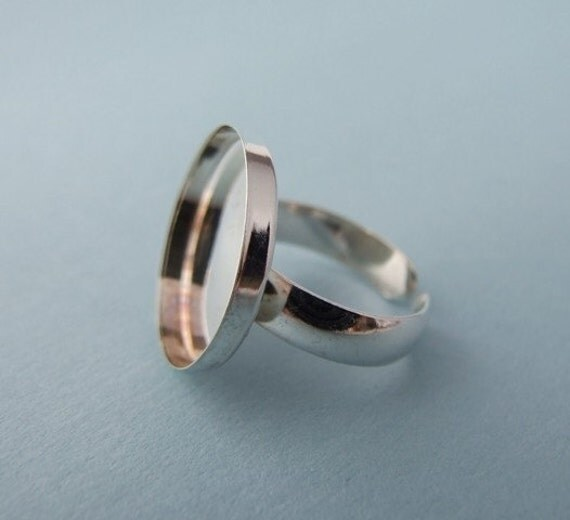 Adjustable Sterling Silver Round Bezel-style Ring Blank