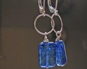 Rectangular  Cobalt  Earrings