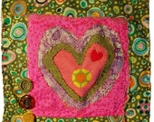 Mini Art Quilt - A heArt Valentine Pink and Green wall hanging