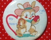 SALE - Pocket Mirror - Be My Valentine - 2.25 inch - new fabric - Buy 3, get 4th free