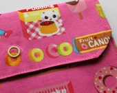 Lg Snappy Pouch - Candy Kitten and Chihuahua - Pink - New Fabric