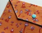 Lg Snappy Pouch - Orange Mushrooms - New Fabric