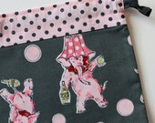Sm Knitting Project Bag - Pink Elephants - New Fabric