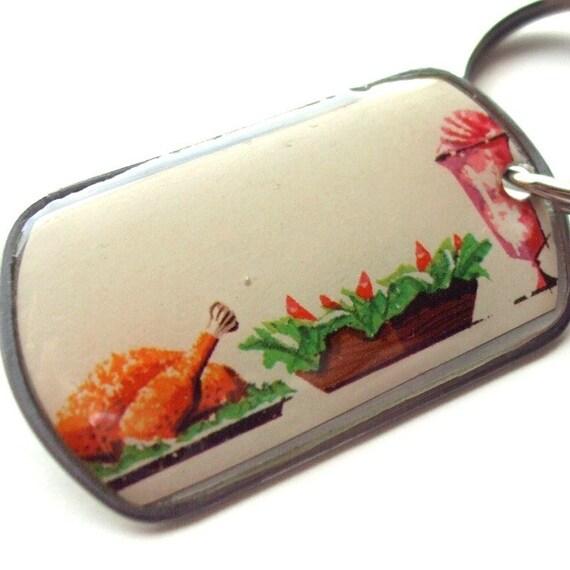 SALE - Dogtag Keychain - Turkey Day - Resin coated vintage image