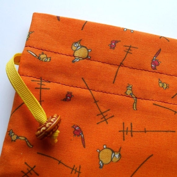Stella's Project Bag - Silly Birds on Orange - New Fabric