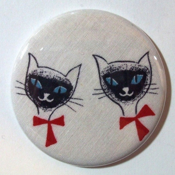 Pocket Mirror - Siamese, If You Please - 2.25 inch - vintage fabric - Buy 3, get 4th free