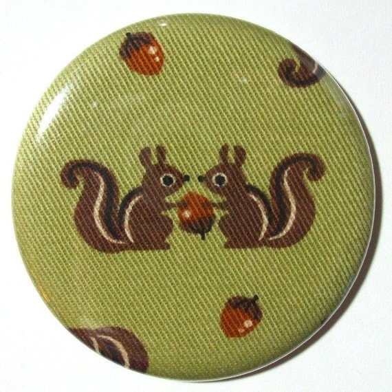 Pocket Mirror - Squirrely Pals - 2.25 inch - new fabric - Buy 3, get 4th free