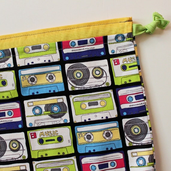 Sm Project Bag - Cassette Tapes - New Fabric