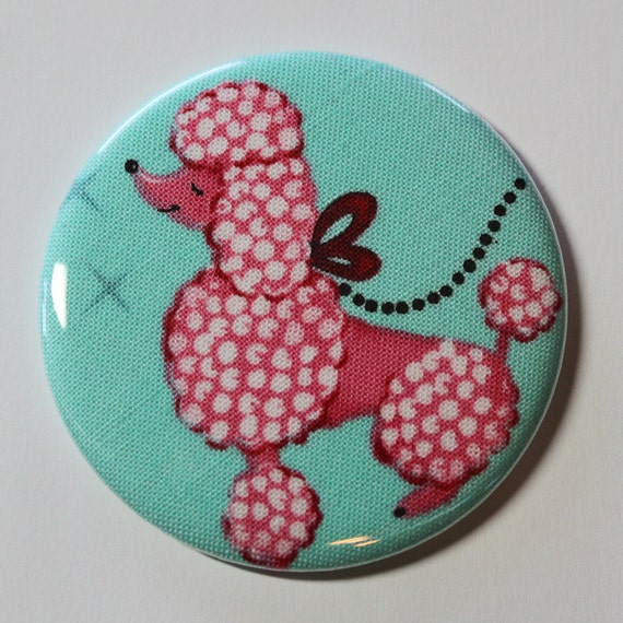 Pocket Mirror - Pink Poodle - 2.25 inch - new fabric - Buy 3, get 4th free