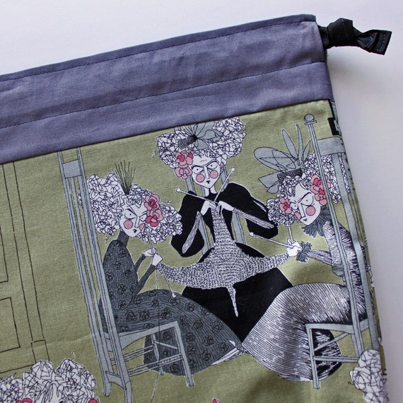 Sm Knitting Project Bag - Ghastly Knitters - New Fabric