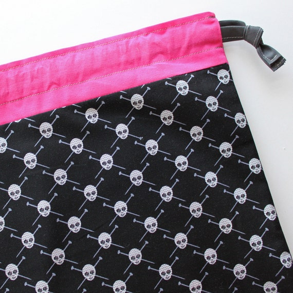 Lg Knitting Project Bag - Yarn Pirates - New Fabric - pink lining