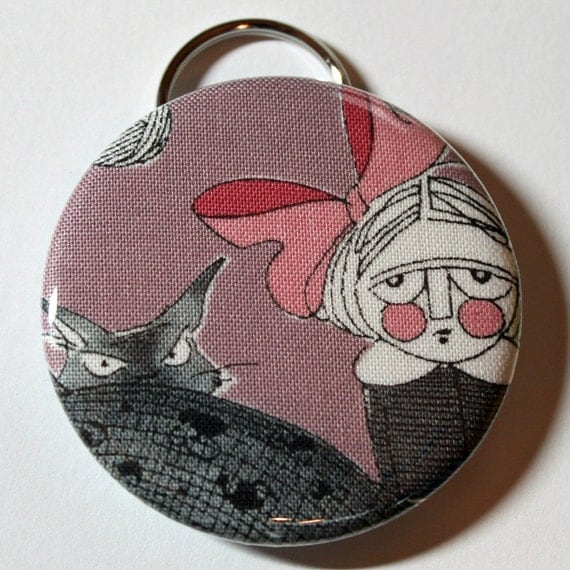 Bottle Opener - Creepy Girl and Her Cat - 2.25 inch - new fabric - Buy 3, get 4th free