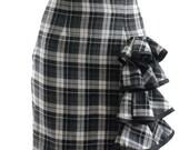 Romy Black Gray Plaid Tartan Side Ruffled High Waist Mini Skirt
