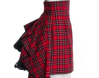 Red Black Tartan Plaid Custom Neo Victorian Steampunk Bustle Skirt