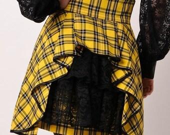 Plaid High Waist SteamPunk Bustle Mini Skirt  Tartan Yellow Black