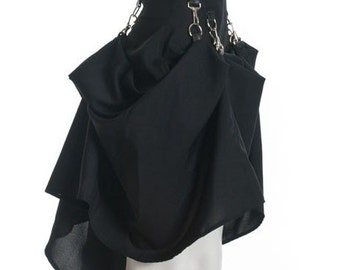 Black SteamPunk Victorian Bustle Custom Made Bondage Skirt