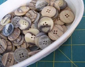 100 Natural Plastic Button Mixed sizes, Tan, Beige, Gray Button Mix