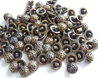 100 Gold Tone Metal Shank Buttons