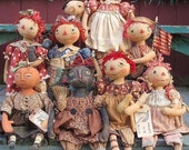 E-PATTERN - Primitive HUGE doll pattern Round head Raggedy, Snowman, Pilgrims, Cat, Pumpkin Doll