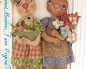 Primitive E-PATTERN Rabbit Dolls With Flower Bouquet and Pea Pod Baby Bunny