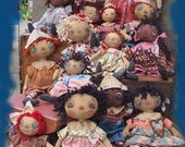 Primitive HUGE E-PATTERN Biggest Little Dolls Black white and raggedy doll 2 sizes many styles PDF