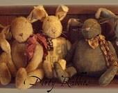 Primitive E-PATTERN Very Dirty Rabbits Bunny Dolls Vintage Style PDF