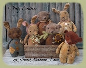 Primitive mailed PATTERN Bitty Critters Little Grungy Bunny Rabbit and Bear Dolls