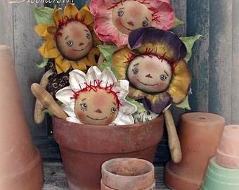 Primitive Doll E PATTERN 4 Raggedy Flower Dolls and Pins PDF