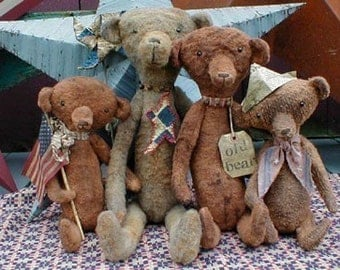 E-PATTERN PDF Primitive Old Grungy Heirloom Bears Doll Pattern
