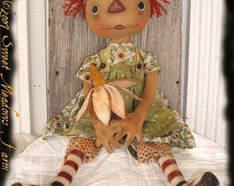 Primitive E-PATTERN Raggedy Doll Posey Ann with Daisy Flower PDF