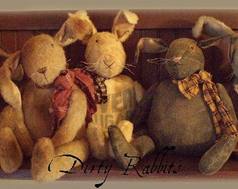 Primitive E-PATTERN Very Dirty Rabbits Bunny Dolls Vintage Style PDF