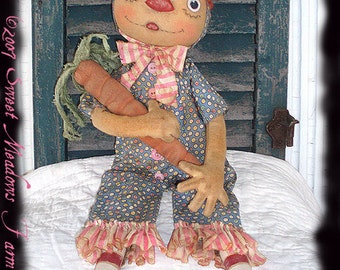 Primitive PATTERN Raggedy Doll Ann in Bunny Suit with grungy Carrot