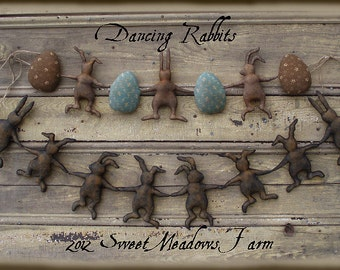 Primitive E-PATTERN Dancing Rabbits and Eggs Garland Ornie Dolls PDF