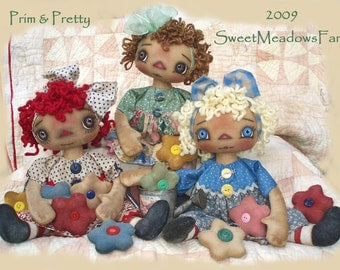 Prim and Pretty Primitive Raggedy Dolls E-PATTERN with Flower Ornies PDF