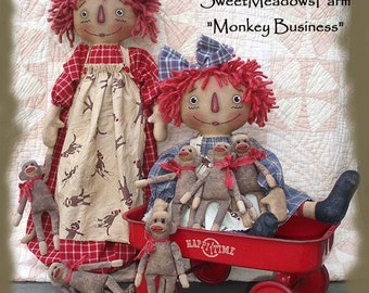 Primitive E-PATTERN Raggedy Doll and Sock - less Monkey and bag holder doll PDF