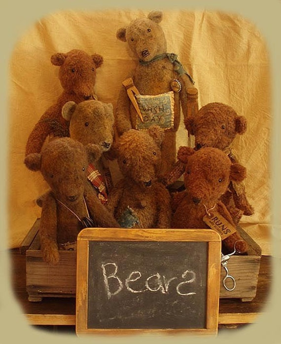 Primitive Doll E-Pattern Grungy Bears Standing or Sitting PDF