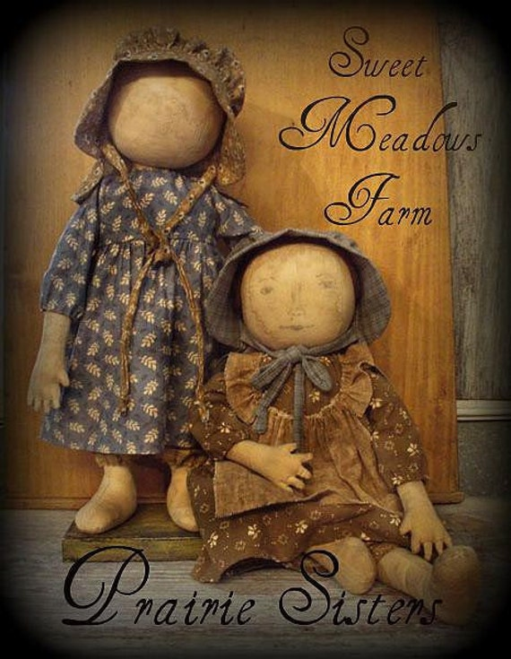E Pattern Primitive Early Prairie Dolls Standing Or Sitting