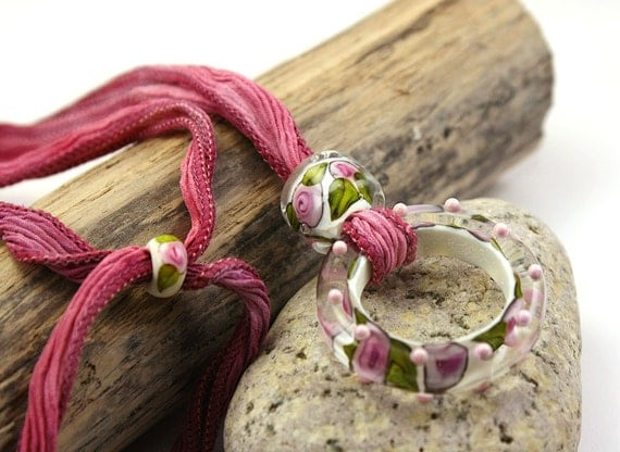Large Lampwork Ring and Slider Bead on Silk Ribbon