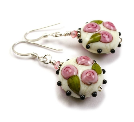 Sweet Antique Rose Button Earrings