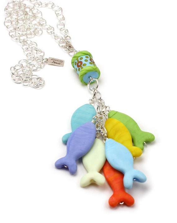 Lampwork Back To School Fish Necklace