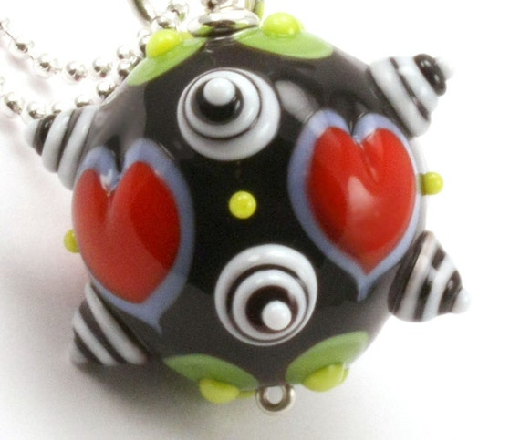 20 Percent Off Lampwork Stacked Dot Pendant on Chain