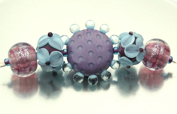 Lampwork Bead Set of 5 with Button Focal