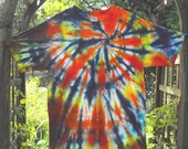 Tie Dyed Swirl  Large T Shirt Flame ,Yellow,Red,Deep Purple