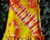 """Tie Dye  Baby """"Flutter Dress"""" in Summer Citris Yellow Orange Red 12 months size"""