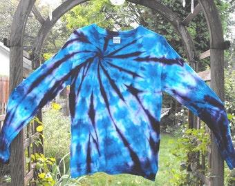 Tie Dye Swirl Medium Long Sleeve T Shirt in Blues and Deep Purple