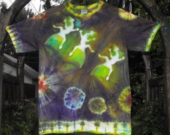 "Tie Dye Resist Adult Medium T Shirt  ""Three Blind Lizards"""