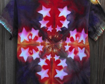 """Tie Dye Resist Adult Small  T Shirt """"Big Bang"""" in Burst of Red, Yellow  with Stars to Purple"""