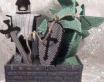 Coin Bank - Plastic Canvas Dragon and Knight
